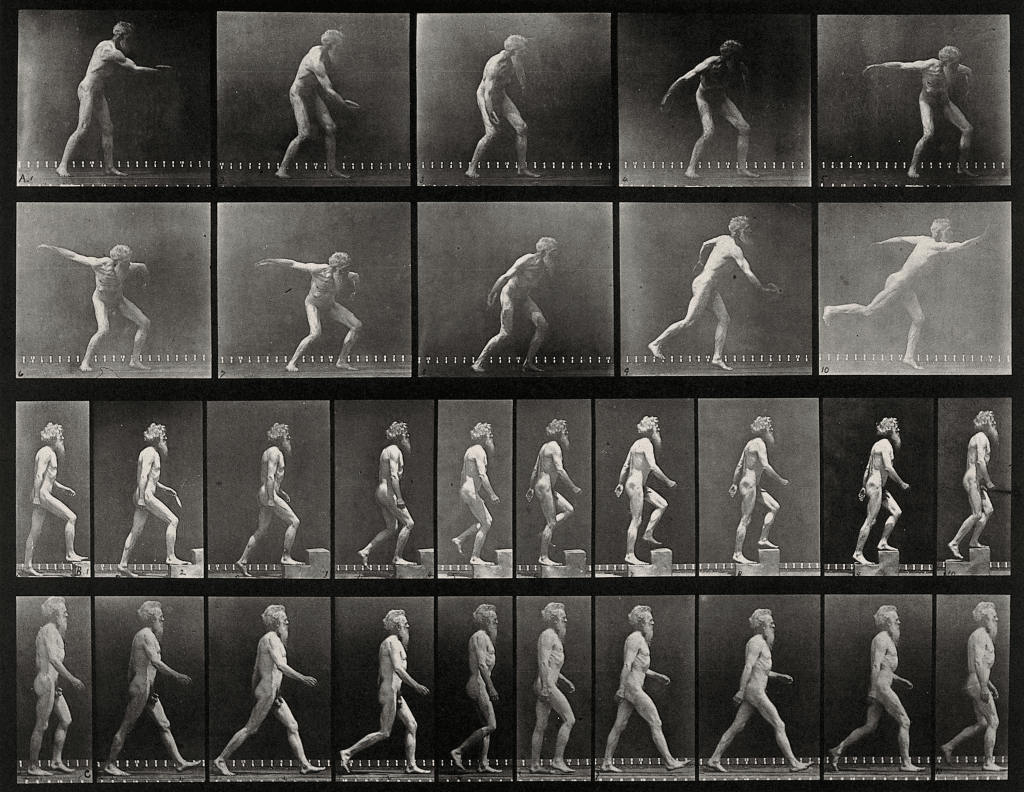 E._Muybridge_throwing_a_disc,_ascending_stairs,_and_walking._Wellcome_V0048740